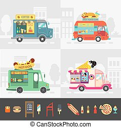 straat etenswaar, set, vector, vrachtwagen, design.