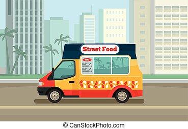straat etenswaar, vrachtwagen