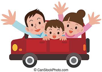 straat, familie reis