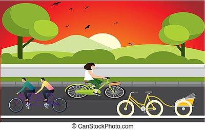 straat, fiets, driewieler, avond