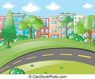 straat, gebouwen, scène, lege