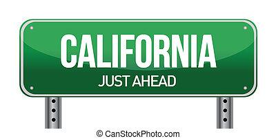 straat, groene, californië, usa, meldingsbord