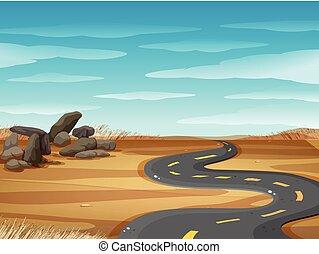 straat, grond, scène, lege, woestijn