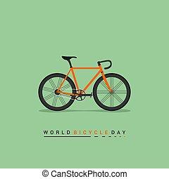 straat, illustratie, vector, fiets