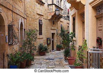 straat, in, oud, middellandse zee, stad