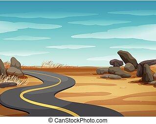 straat, land, scène, lege, woestijn