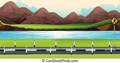 straat, langs, rivier, scène, achtergrond