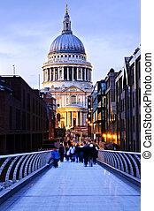 straat., londen, schemering, kathedraal, paul