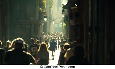 straat, menigte, slowmotion
