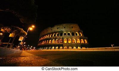straat, met, auto's, dichtbij, verlicht, colosseum, in, rome