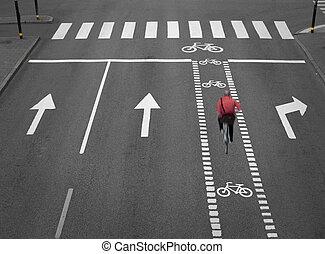 straat, met, cycling, steegjes