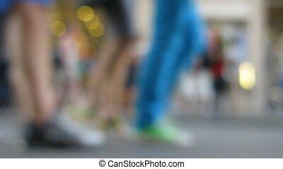 straat, met, mensen, uit, van, focus.