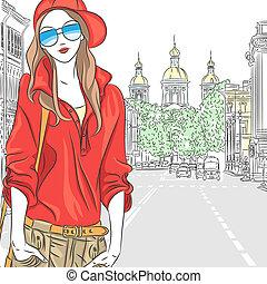 straat, modieus, straat., pet, vector, petersburg, blouse, meisje, bril, rood, aantrekkelijk