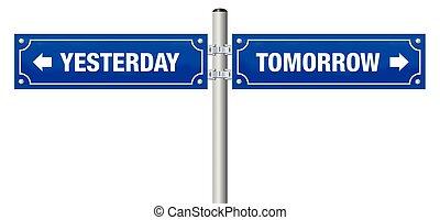 straat, morgen, gisteren, meldingsbord