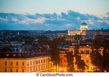 straat., nacht, italië, aanzicht, peter's, kathedraal, rome