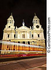 straat., nacht, londen, kathedraal, paul