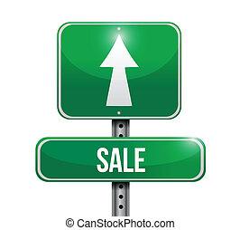 straat, ontwerp, verkoop, illustratie, meldingsbord