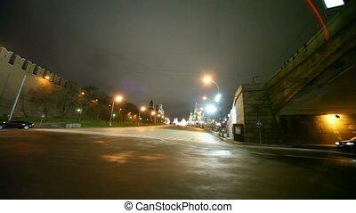 straat, politiewagen, overgaand door, met, de, rode plein,...