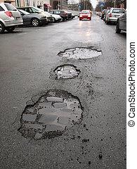 straat, potholes, beschadigen, /