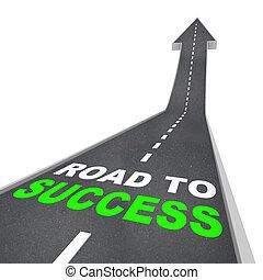 straat, richtingwijzer, -, op, succes