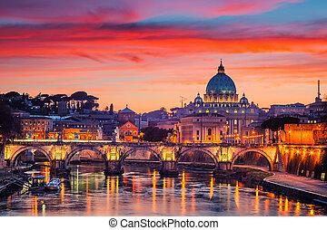 straat., rome, peter's, nacht, kathedraal