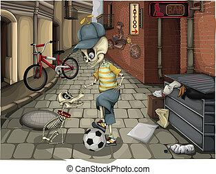 straat, skeletten