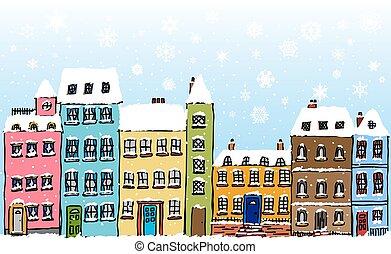 straat, snowflakes, spotprent