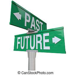 straat, twee-weg, -, meldingsbord, voorbij, toekomst