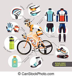 straat, uniforms., fiets
