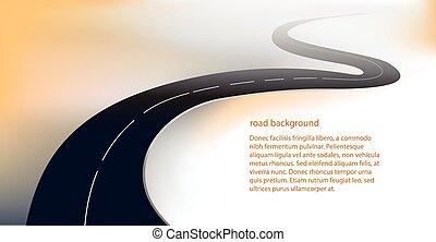straat, vector, achtergrond, snelweg, of
