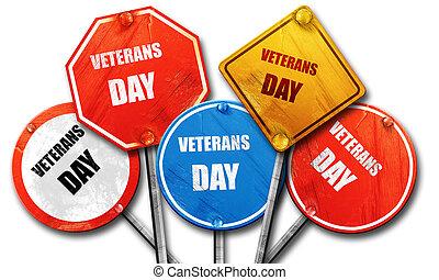 straat, vertolking, meldingsbord, collecteren, achtergrond, ruige , veteranen dag, 3d