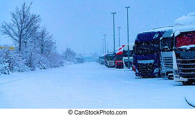 straat, vrachtwagen, winter, vrachtwagens, roeien