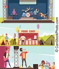 straatfeest, banieren, set, open lucht