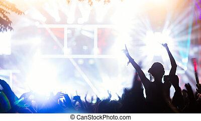 straatfeest, het genieten van, concert, menigte
