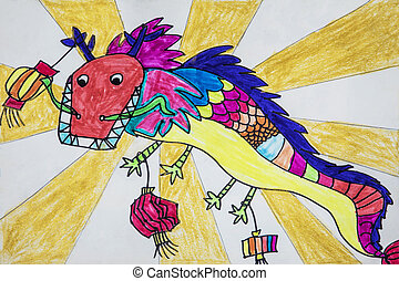 straatfeest, kinderen, china, tekening, draak
