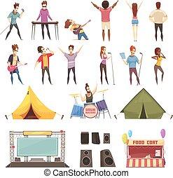 straatfeest, lucht, set, open, iconen