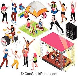 straatfeest, open, set, muziek, lucht