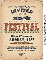 straatfeest, ouderwetse , uitnodiging, poster
