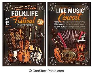 straatfeest, poster, instrument muziek, ethnische , folk-...