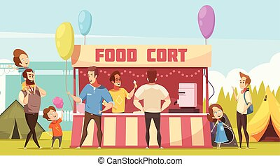 straatfeest, voedsel rechtbank, open lucht