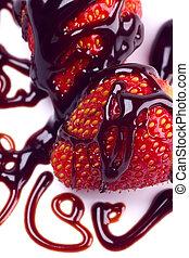 straberry, frukt, med, choklad, garnering