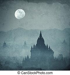 strabiliante, castello, silhouette, sotto, luna, a, misterioso, notte