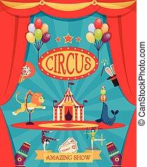 strabiliante, circo, mostrare manifesto