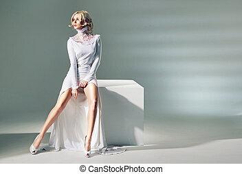 strabiliante, gambe, attraente, donna