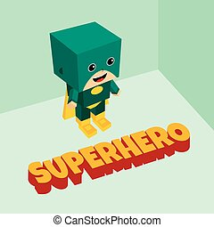 strabiliante, isometrico, superhero, tema