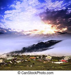 strabiliante, tramonto, e, mare nube