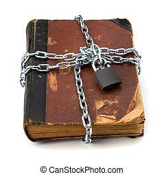 stracciato, libro, con, catena, e, lucchetto, isolato,...