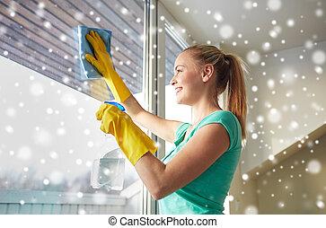 straccio, donna, finestra, guanti, pulizia, felice