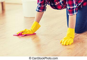 straccio, donna, pavimento, su, pulizia, chiudere, casa