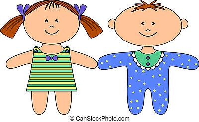 straccio, ragazza, bambole, ragazzo